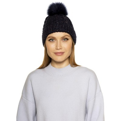 Alexia Admor Angela Cable Knit Beanie With Pom