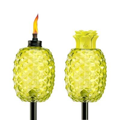 "65"" 2pk Aloha Pineapple Glass Torch Green - TIKI"
