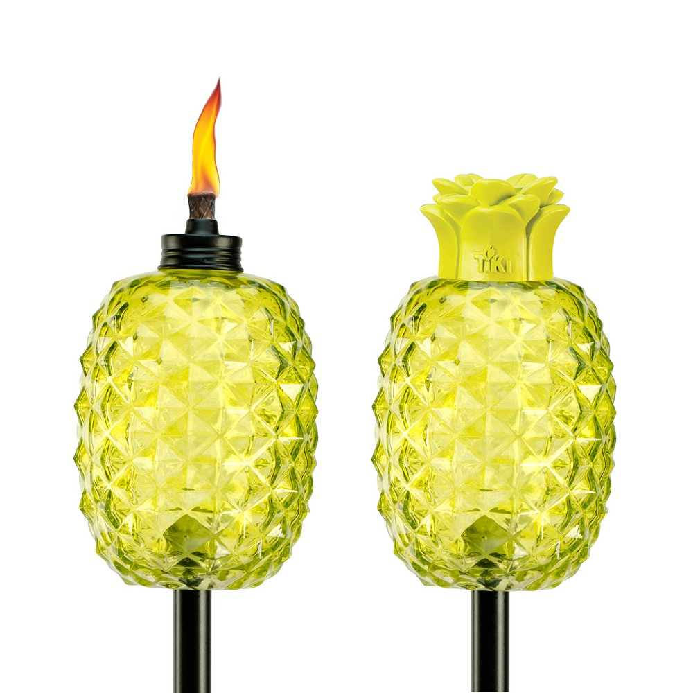 "Image of ""65"""" 2pk Aloha Pineapple Glass Torch Green - TIKI"""