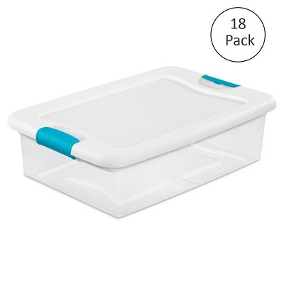Sterilite 32-Qt. Clear Stackable Latching Storage Box Container, 18 Pack | 1496