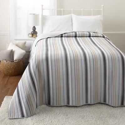 Lakeside Classic Farmhouse Striped Bedspread – Gray, Beige, and White