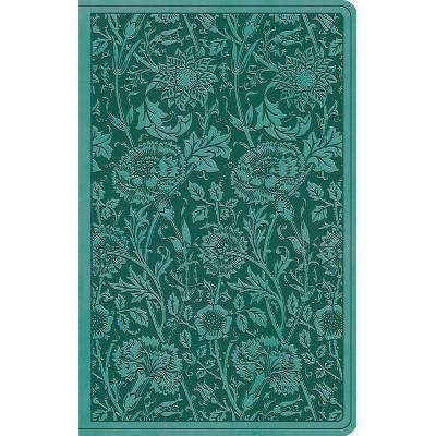 ESV Premium Gift Bible (Trutone, Teal, Floral Design) - (Leather Bound)