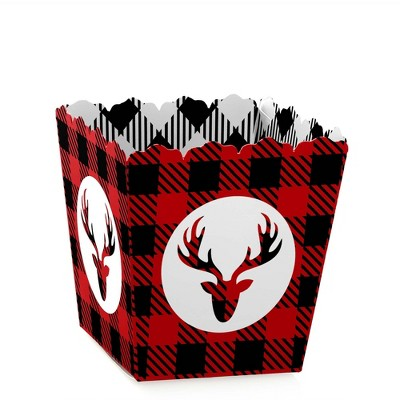 Big Dot of Happiness Prancing Plaid - Party Mini Favor Boxes - Christmas and Holiday Buffalo Plaid Party Treat Candy Boxes - Set of 12