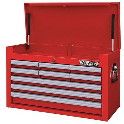"""WESTWARD 32H878 26""""W Top Chest 9 Drawers, Red, 12-5/8""""D x 16-5/16""""H"""