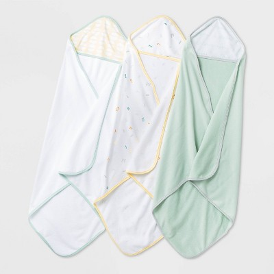 Baby Girls' 3pk 'ABC' Hooded Towel - Cloud Island™ Mint