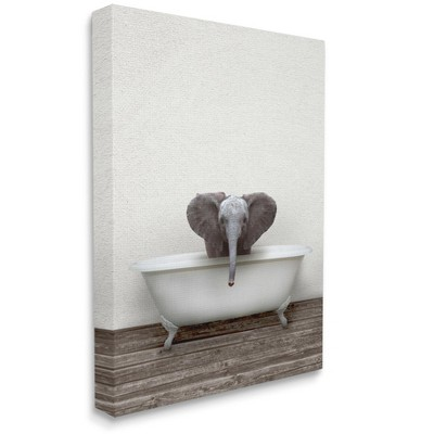 Stupell Industries Baby Elephant in Rustic Style Claw Bath