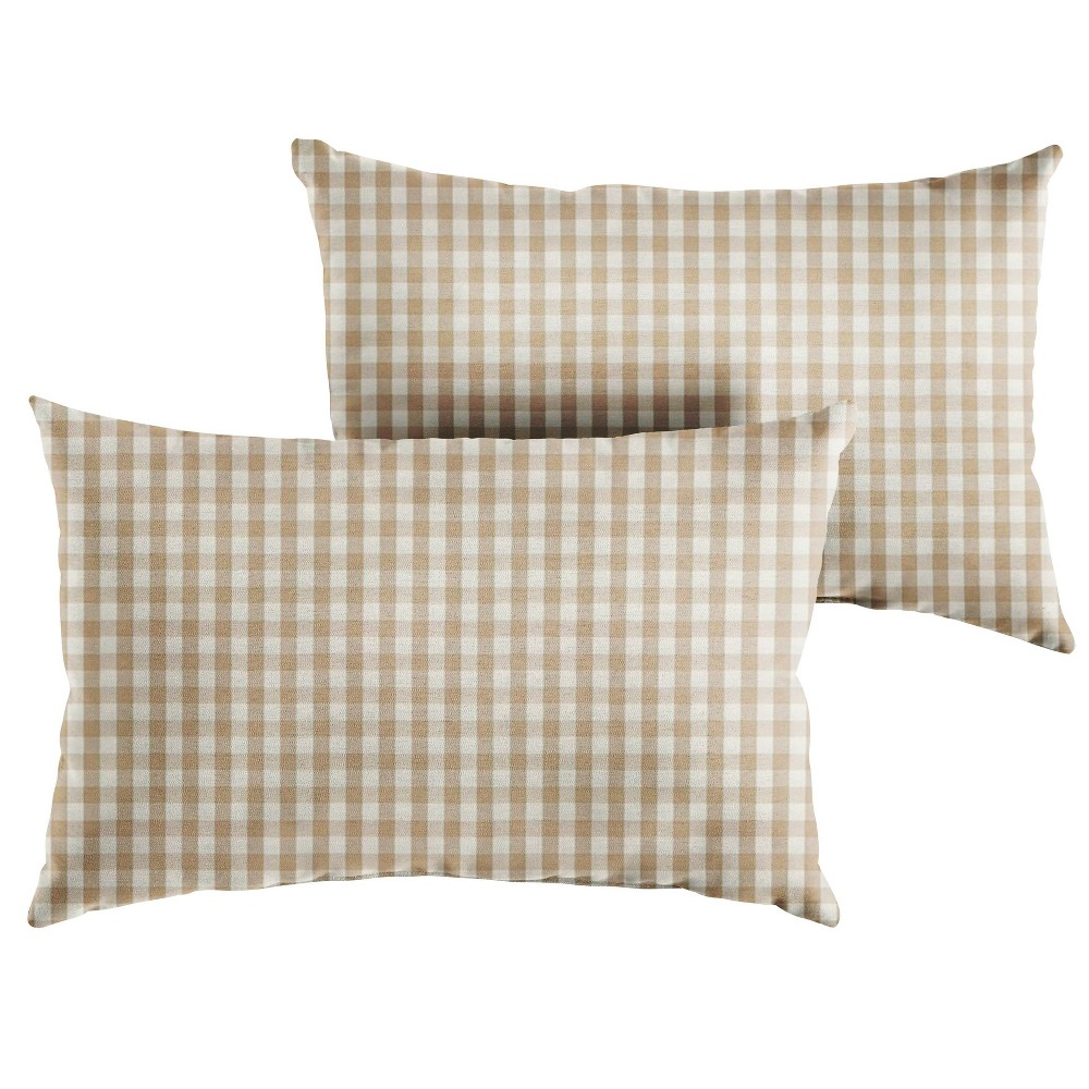 "Image of ""13"""" 2pk Outdoor Throw Pillows Beige/White"""
