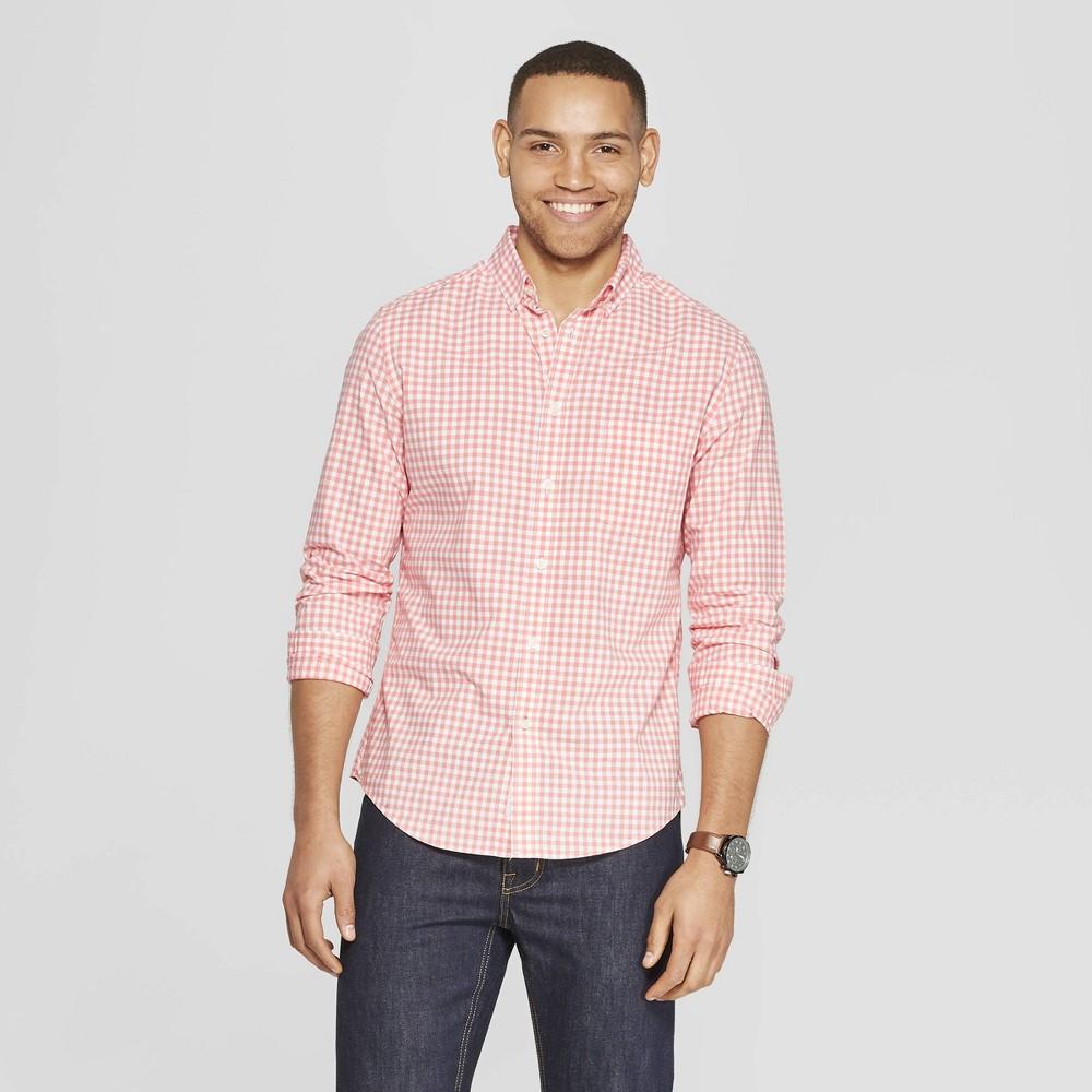 Men's Plaid Standard Fit Long Sleeve Northrop Poplin Button-Down Shirt - Goodfellow & Co Sunbeam Pink XL