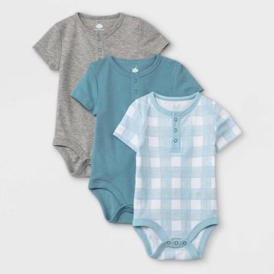 Baby Boys' 3pk Basic Henley Short Sleeve Bodysuit - Cloud Island™ Blue 3-6M