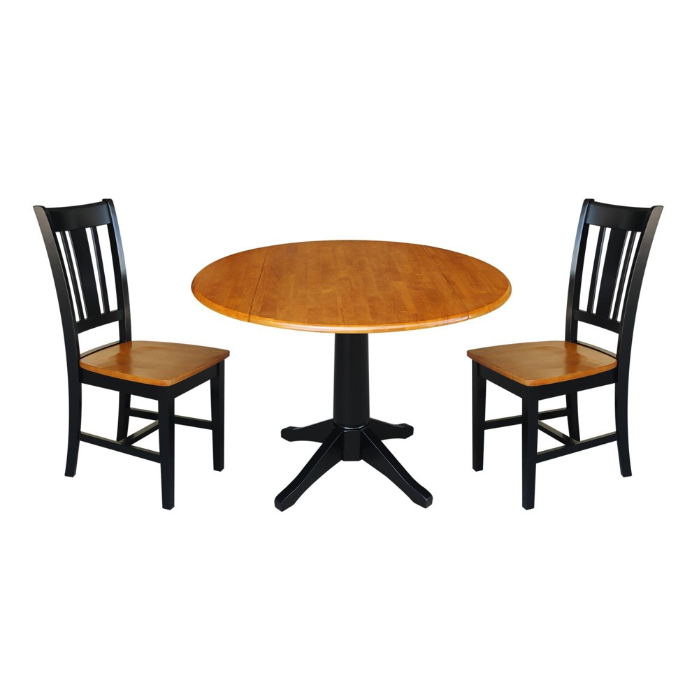 30 3 34 Round Top Pedestal Table With 2 Chairs Extendable Dining Sets Natural Black International Concepts