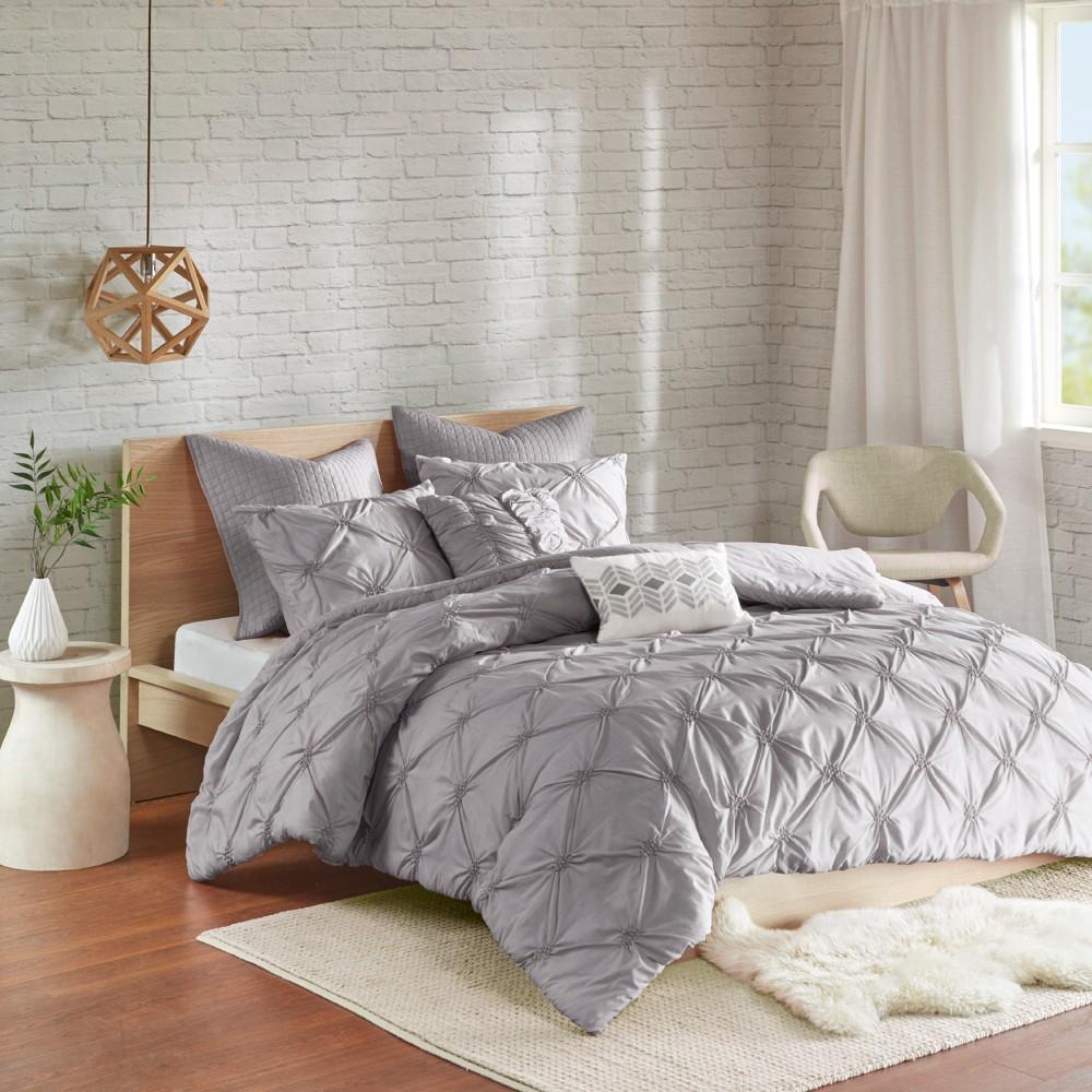 Gray Stella Embroidered Comforter Set (King/California King) 7pc