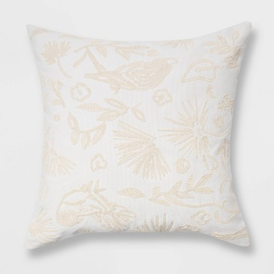Oversized Embroidered Bird and Botanical Pattern Square Throw Pillow - Opalhouse™