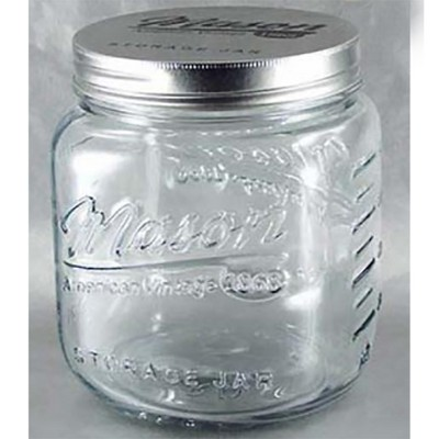 Grant Howard 51091 102 Ounce Classic Wide Mouthed Embossed Glass Mason Storage Jar Storage Container with Airtight Screw On Closing Lid