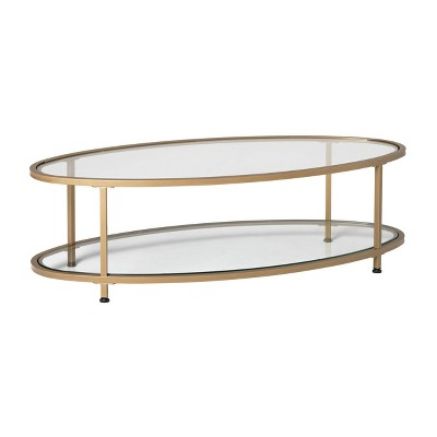"48"" Camber Modern Glass Oval Coffee Table - Studio Designs"