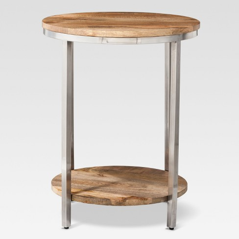 round wood end table Berwyn Large Round end table Metal and Wood Brown   Threshold  round wood end table