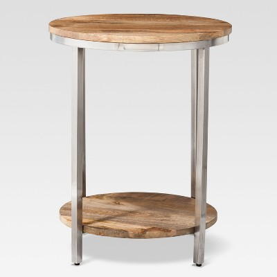 Beau Berwyn Large Round End Table Metal And Wood Brown   Threshold™