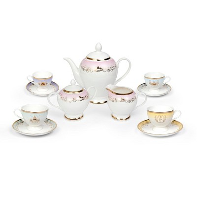 Robe Factory LLC Disney Princess 13-Piece Ceramic Tea Set | Ariel, Cinderella, Jasmine, Belle