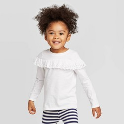 Toddler Girls' Long Sleeve Eyelet T-Shirt - Cat & Jack™ White