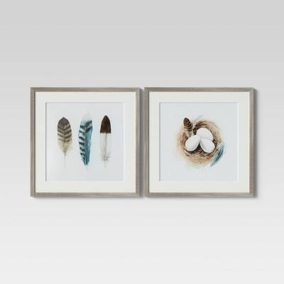 "(Set of 2)20"" x 20"" Birds Nest Framed Wall Art - Threshold™"