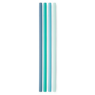 "GoSili 10.5"" 4pk Silicone Reusable Straws Cool Ombre"