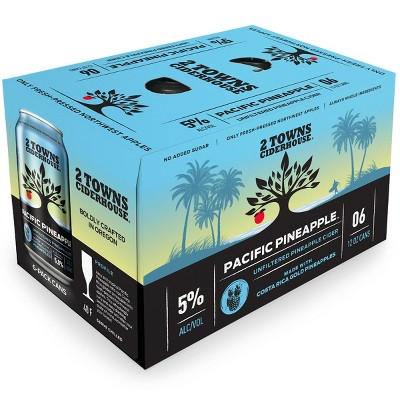 2 Towns Pacific Pineapple Unfiltered Hard Cider - 6pk/12 fl oz Cans