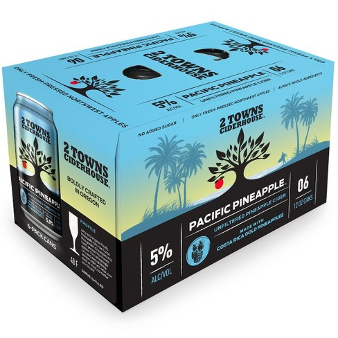 2 Towns Pacific Pineapple Unfiltered Hard Cider - 6pk/12 fl oz Cans - image 1 of 3
