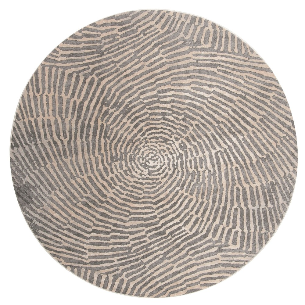 6'7 Shapes Round Area Rug Taupe - Safavieh, Gray