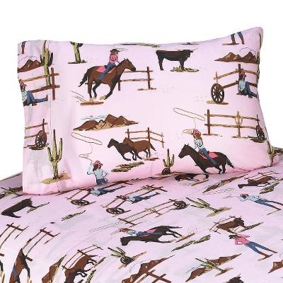 Sweet Jojo Designs Cowgirl Sheet Set- Horse Print (Twin)