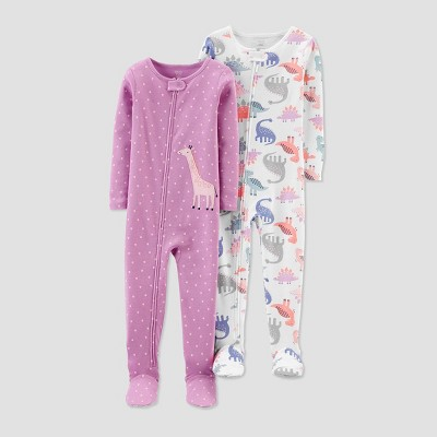Baby Girls' Giraffe 100% Cotton Footed Pajama - Just One You® made by carter's Pink 9M