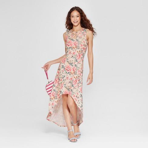 aef24dd656de Women s Floral Print Cross Front Maxi Dress - Love   First Sight (Juniors )  Pink
