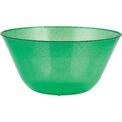 Green Glitter Plastic Bowl Green