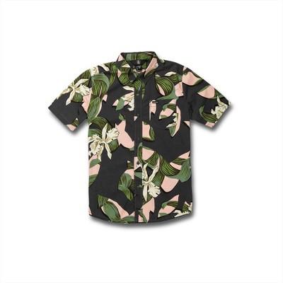 Volcom Boys Cut Out Floral Button Up Short Sleeve Shirt