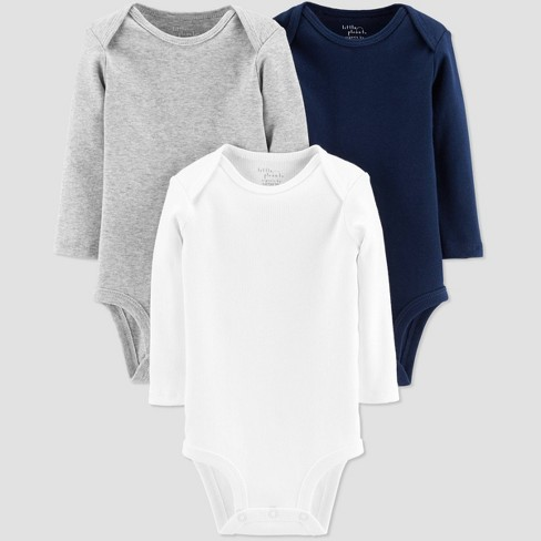 Little Planet Organic by Carters Baby Boys' 3pk Basic Bodysuits - Gray - image 1 of 1