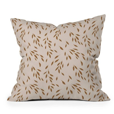 """16""""x16"""" Kelli Murray Falling Leaves Square Throw Pillow Brown - Deny Designs"""