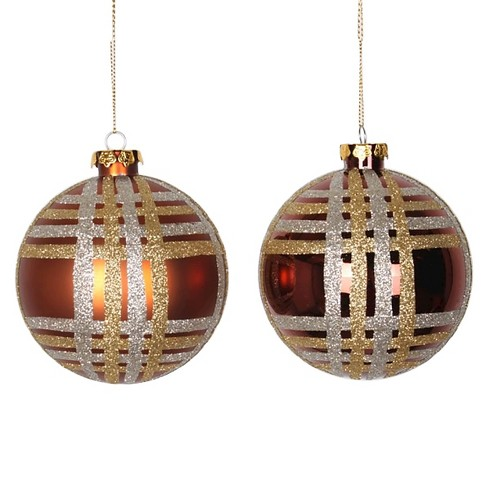 4ct Brown/Silver/Gold Glitter Ball Christmas Ornament Set - image 1 of 1