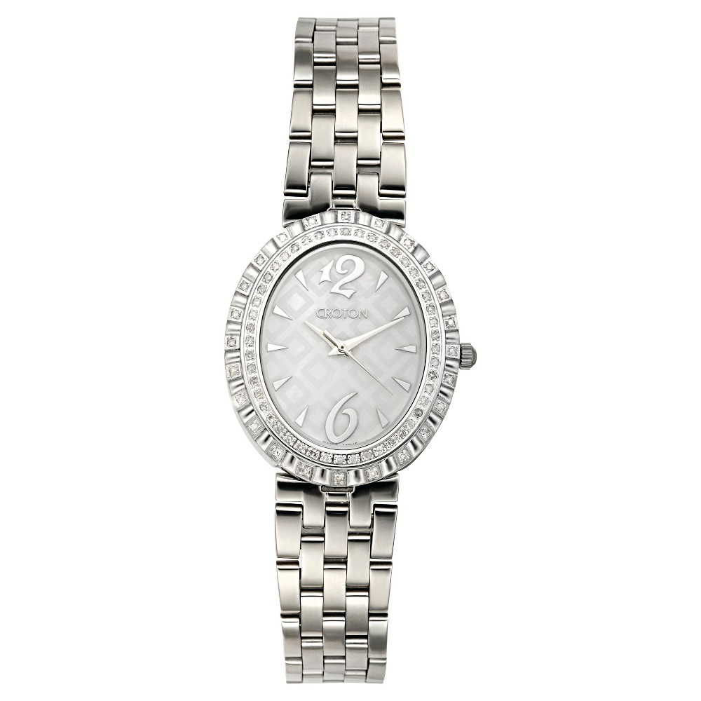 Image of Women's Croton Stainless Steel Watch with Swiss Quartz Diamond - Silver, Size: Small