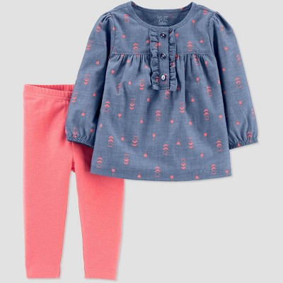 Baby Girls' Floral Top & Bottom Set - Just One You® made by carter's Blue/Coral 6M