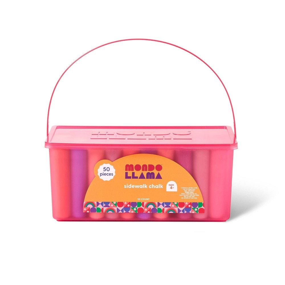 50ct Sidewalk Chalk Set Pink Box Mondo Llama 8482