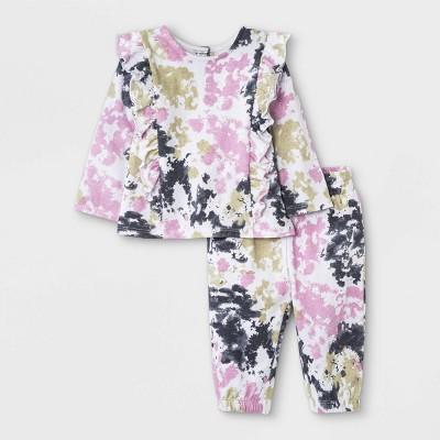 Grayson Mini Baby Girls' French Terry Sweatshirt & Tie-Dye Bottom Set