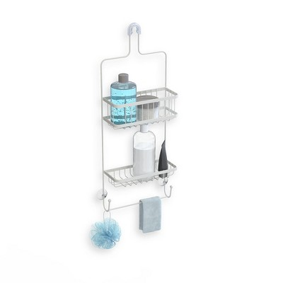 Better Living Products 13213 ASTRA  2 Tier Aluminum Hanging Bathroom Shower Caddy Organizer with Hooks for Storing Accessories and Toiletries