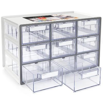 Arteza 9-Drawer Multipurpose Semi-Clear Storage Cabinet in Gray (ARTZ-4091)