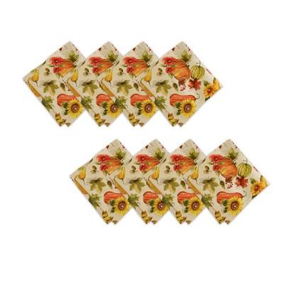 "Grateful Season Fall Printed Napkins, Set of 8 - 17"" x 17""  - Orange/Yellow - Elrene Home Fashions"