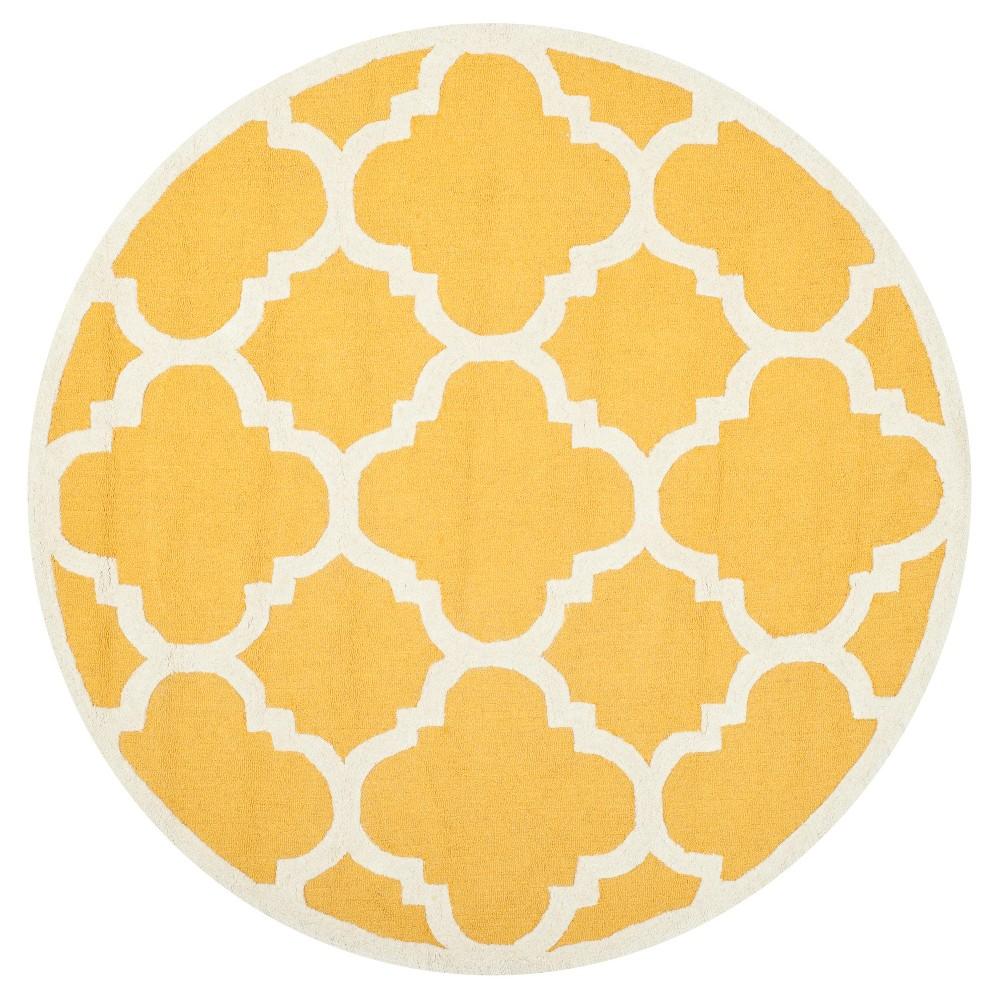 Landon Texture Wool Rug - Gold / Ivory (8' Round) - Safavieh, Gold/Ivory