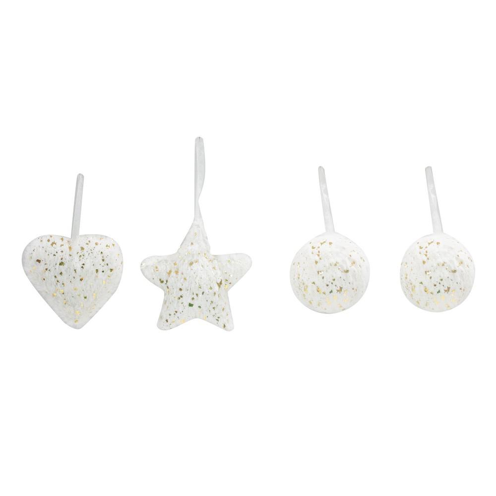 4ct Enchanted Eve Gold Flecked White Faux Fur Christmas Ornaments - Wondershop