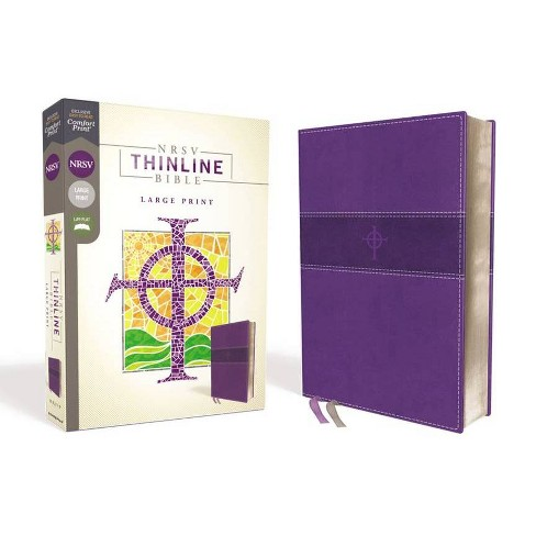 Nrsv, Thinline Bible, Large Print, Leathersoft, Purple, Comfort Print - by  Zondervan (Leather_bound) - image 1 of 1