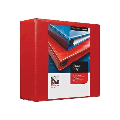 """MyOfficeInnovations Heavy Duty 4"""" 3-Ring View Binder Red (24698) 82661"""