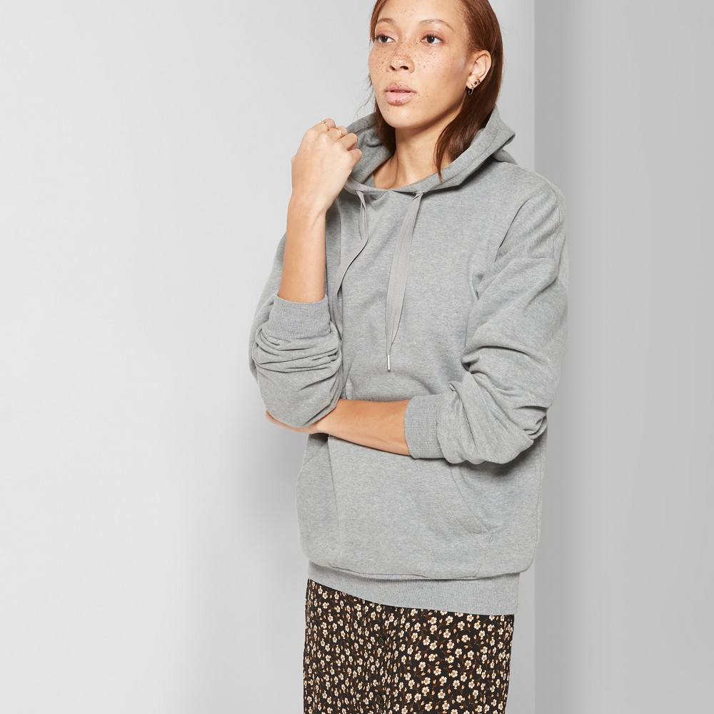 Women's Oversized Fleece Hoodie - Wild Fable Heather Gray Xxl