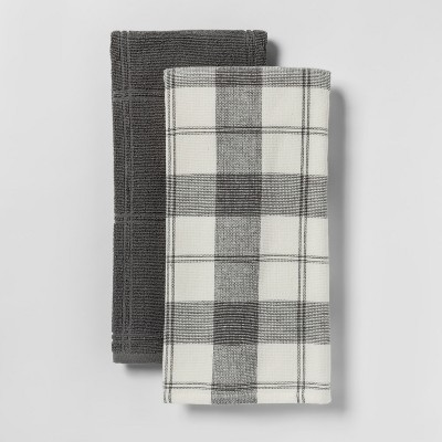 2pk Check With Solid Kitchen Towel Gray - Threshold™