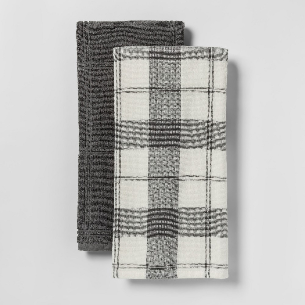 2pk Check With Solid Kitchen Towel Black - Threshold
