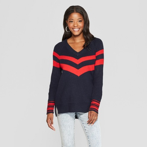 Womens Striped Long Sleeve Varsity Pullover Sweater Almost Famous
